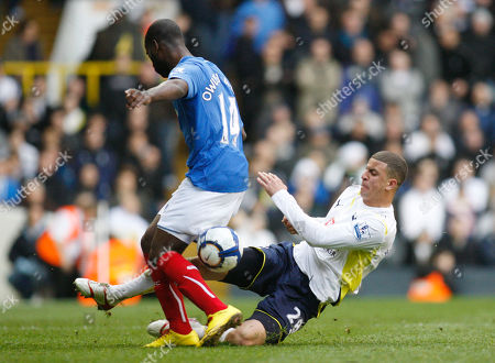 Kyle Walker, Quincy Owusu-Abeyie Tottenham Hotspur's Kyle Walker, right, tackles Portsmouth's Quincy Owusu-Abeyie during their English Premier League soccer match at White Hart Lane, London, . (AP Photo/Sang Tan) ** NO INTERNET/MOBILE USAGE WITHOUT FOOTBALL ASSOCIATION PREMIER LEAGUE (FAPL) LICENCE - CALL +44