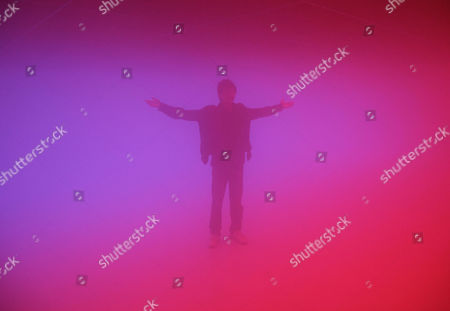 """A visitor raises his arms as he experiences an installation art work entitled """"Feelings are Facts,"""" jointly produced by Danish-Icelandic artist Olafur Eliasson and Chinese artist Ma Yansong, in Beijing, China, . The art form uses lights, mist and temperature to create artificial environments, with the goal of challenging the viewer's relationship with both nature and urban environment"""