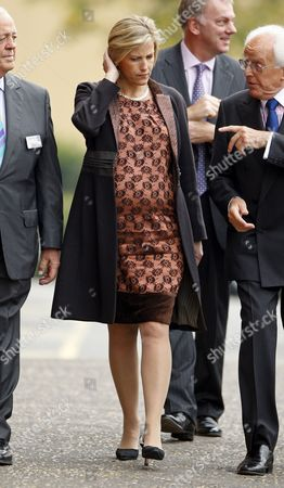 A pregnant Sophie Countess of Wessex, whose baby is due in December, in her capacity as patron of MENCAP attends the launch of 'In the Moment' DVD and Lord Brian Rix (r)
