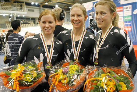 Lauren Ellisleft, Alison Shanks, Rushlee Buchanan New Zealand's Lauren Ellis, left, Alison Shanks, and Rushlee Buchanan, right, with their bronze medals for the Women's Team Pursuit in which they set a new world record at the World Track Cycling Championships in the Ballerup Arena, Copenhagen, Denmark