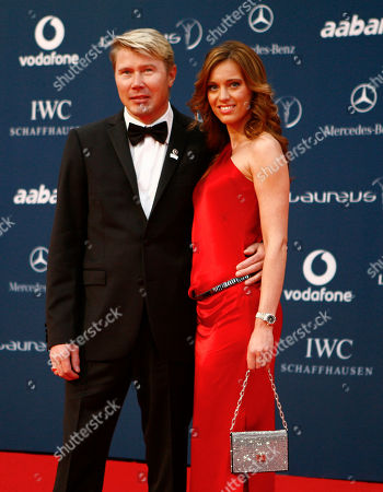 Mika Hakkinen, Marketa Kromatova Laureus Sport Academy member Mika Hakkinen and his girlfriend Marketa Kromatova arrive at the Laureus World Sports Awards, United Arab Emirates