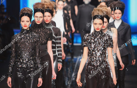 Stock Image of Models presents creations by German designer Karl Lagerfeld for Largerfeld as part of his Fall-Winter ready-to-wear fashion collection 2010, presented in Paris