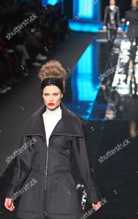 Stock Photo of A model wears a creation by German designer Karl Lagerfeld for Largerfeld as part of his Fall-Winter ready-to-wear fashion collection 2010, presented in Paris