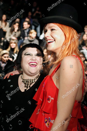 Beth Ditto, Micky Green U.S singer Beth Ditto, left, and Australian singer Micky Green, right, are seen prior to the French fashion designer Nathalie Rykiel's Fall-Winter 2010-2011 ready-to-wear collection for Sonia Rykiel house, in Paris