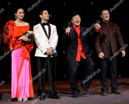 Peng Lin, Jackie Chan, Ding Sheng, Steve Yoo Actors Steve Yoo, Peng Lin, Jackie Chan and director Ding Sheng speak to the audience after the premiere of the film 'Little Big Soldier' during the International Film Festival Berlinale in Berlin, Germany