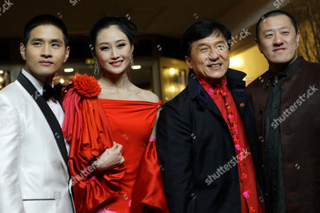 Peng Lin, Jackie Chan, Ding Sheng, Steve Yoo Actors Steve Yoo, Peng Lin, Jackie Chan and director Ding Sheng arrive for the premiere of the film 'Little Big Soldier' during the International Film Festival Berlinale in Berlin, Germany
