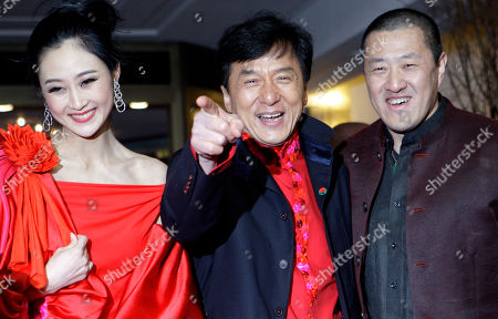 Peng Lin, Jackie Chan, Ding Sheng Actors Peng Lin, Jackie Chan and director Ding Sheng arrive for the premiere of the film 'Little Big Soldier' during the International Film Festival Berlinale in Berlin, Germany