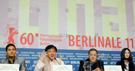 Steve Yoo, Jackie Chan, Ding Sheng, Peng Lin From left, actors Steve Yoo, Jackie Chan, director Ding Sheng and actress Peng Lin at the press conference for the film 'Little Big Soldier' during the International Film Festival Berlinale in Berlin, Germany