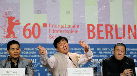 Ding Sheng, Jackie Chan, Steve Yoo Actor Jackie Chan, centre, gestures at the press conference for the film 'Little Big Soldier' alongside actor Steve Yoo, left, and director Ding Sheng at the International Film Festival Berlinale in Berlin, Germany