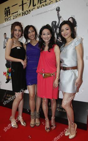 Zhu Xuan, Fala Chen, Wai Ying-hung, Zhang Jingchu Actresses, from left, Zhu Xuan of China, Fala Chen of Hong Kong, Wai Ying-hung of Hong Kong and Zhang Jingchu of China, pose together at a news conference of the Hong Kong Film Awards in Hong Kong . Hong Kong Film Awards will be held on April 18
