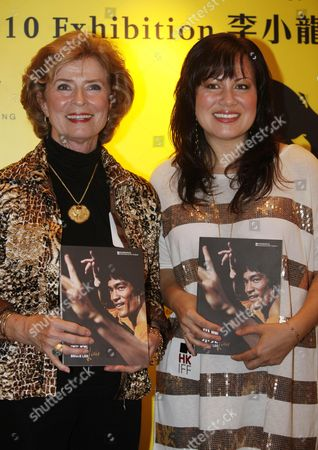 Linda Cadwell, Shannon Lee Linda Cadwell, widow of the late kung fu star Bruce Lee, left, and Lee's daughter Shannon Lee attend opening ceremony for Bruce Lee's exhibition as part of the event at the Hong Kong International Film Festival in Hong Kong . Bruce Lee's wife and daughter on Tuesday unveiled an exhibition of the late kung fu star's personal items, photos and movie posters in Hong Kong to mark what would have been his 70th birthday this November. The exhibit, which includes a boxing head guard and a pair of sunglasses used by Lee, is part of a tribute to the late actor at the 34th Hong Kong