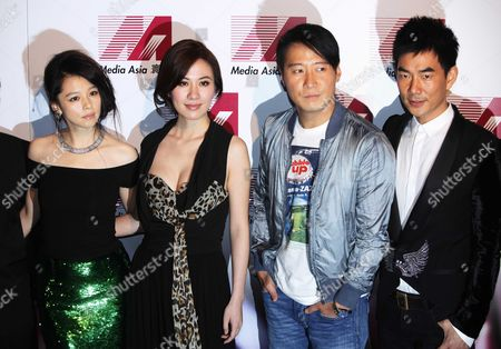 """Vivian Hsu, Michelle Ye, Leon Lai, Richie Jen Taiwan actress Vivian Hsu, left, Hong Kong actress Michelle Ye, second from left, Hong Kong actor Leon Lai, second from right, and Taiwan actor Richie Jen attend the promotional event for their upcoming movie """"Fire of Conscience"""" in Hong Kong"""