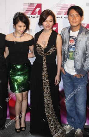 """Vivian Hsu, Michelle Ye, Leon Lai Taiwan actress Vivian Hsu, left, Hong Kong actress Michelle Ye, center, and Hong Kong actor Leon Lai attend the promotional event for their upcoming movie """"Fire of Conscience"""" in Hong Kong"""