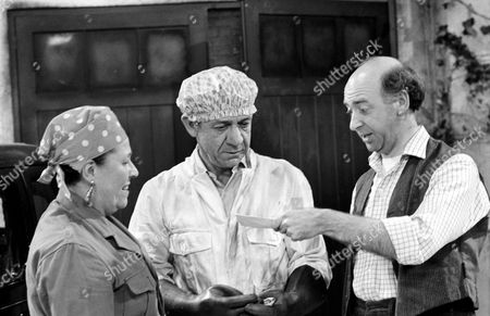 Stock Picture of Keith Marsh (right) with Sid James and Peggy Mount in 'George And The Dragon'