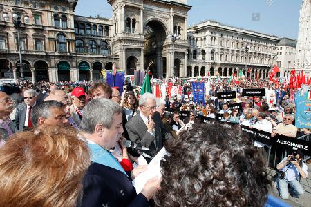 """President of the """"Provincia"""" Guido Podesta' delivers his speech on the occasion of the Liberation Day, in Milan, Italy, . The day commemorates the liberation of Italy from Nazi occupation during WWII"""