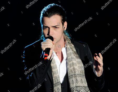 """Valerio Scanu sings """"Per tutte le volte che..."""" during the """"Festival di Sanremo"""" Italian song contest at the Ariston theater in San Remo, Italy"""