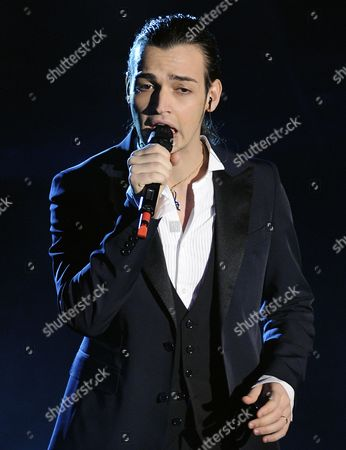 """Valerio Scanu Valerio Scanu performs during the """"Festival di Sanremo"""" Italian song contest at the Ariston theater in San Remo, Italy"""