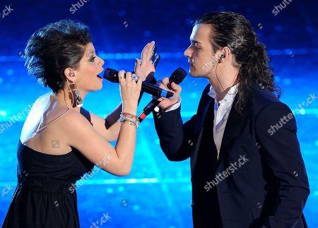 "Valerio Scanu, Alessandra Amoroso Valerio Scanu with Alessandra Amoroso during the ""Festival di Sanremo"" Italian song contest at the Ariston theater in San Remo, Italy"