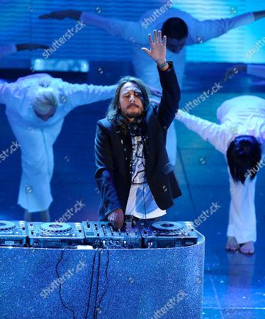 "Stock Picture of Bob Sinclar French DJ Bob Sinclar born Christophe Le Friant, performs at the ""Festival di Sanremo"" Italian song contest at the Ariston theater in San Remo, Italy"