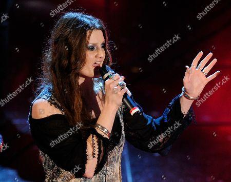 """Irene Fornaciar Irene Fornaciari during the """"Festival di Sanremo"""" Italian song contest at the Ariston theater in San Remo, Italy"""