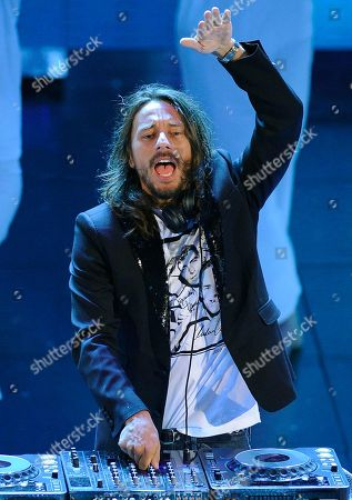 """Stock Photo of DJ Bob Sinclar French record producer and House music DJ, Bob Sinclar, born Christophe Le Friant, at the """"Festival di Sanremo"""" Italian song contest at the Ariston theater in San Remo, Italy"""