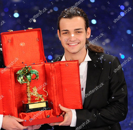 """Valerio Scanu after winning during the """"Festival di Sanremo"""" Italian song contest at the Ariston theater in San Remo, Italy"""