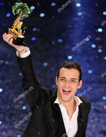 """Valerio Scanu after winning the """"Festival di Sanremo"""" Italian song contest at the Ariston theater in San Remo, Italy"""