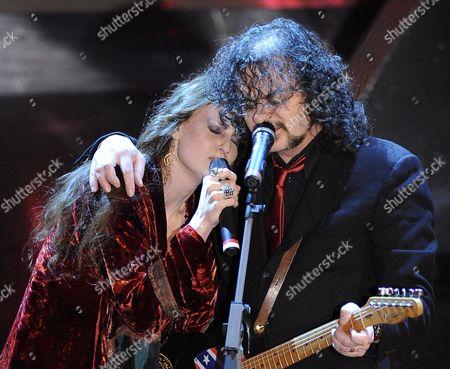 "Irene Fornaciari performs during the ""Festival di Sanremo"" Italian song contest at the Ariston theater in San Remo, Italy"