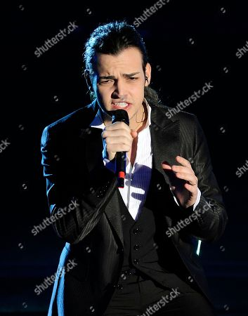 """Valerio Scanu performs during the """"Festival di Sanremo"""" Italian song contest at the Ariston theater in San Remo, Italy"""