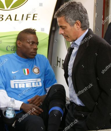 Mario Balotelli, Jose' Mourinho On Inter Milan forward Mario Balotelli, left and coach Jose' Mourinho, of Portugal, look away from each other during a Serie A soccer match between Inter Milan and Juventus, at the San Siro stadium in Milan, Italy. 19-year-old forward Mario Balotelli, threw his jersey to the ground after being whistled at by fans and stormed angrily off the field while his teammates celebrated after winning a Champions league semifinal first leg match against Barcelona Tuesday, April 20, 2010