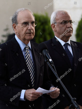 George Mitchell, Saeb Erekat U.S. Mideast envoy George Mitchell, left, gives a statement to the press as Saeb Erekat, Chief Palestinian negotiator, listens before his meeting with Palestinian President Mahmoud Abbas, not pictured, in the West Bank city of Ramallah, . The White House envoy tried Friday to get Israelis and Palestinians talking again after more than a year of deadlock, while confronting a second challenge navigating the rocky relations between Israel and the U.S