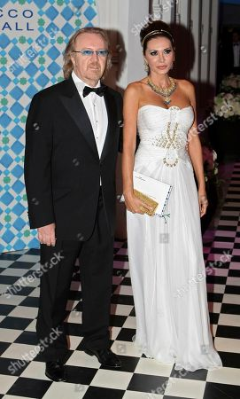 "Umberto Tozzi Italian singer Umberto Tozzi and his wife arrive at the ""Rose Ball"", in Monaco"