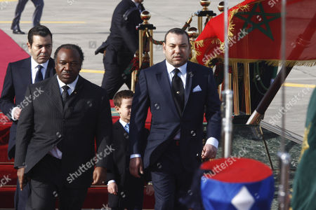 Ali Ben Bongo Ondimba, Mohammed VI Morocco's King Mohammed VI, right, welcomes President Ali Ben Bongo Ondimba, of Gabon, left upon his arrival at Tangiers airport, Morocco, . At center is Crown Prince Moulay El Hassan and at left is Prince Moulay Rachid King brother left. Ali Bongo is on a three-day official visit in Morocco