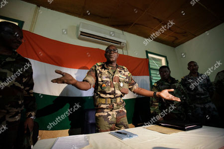 Salou Djibo Salou Djibo, leader of the military junta which overthrew the nation's strongman president days earlier, welcomes envoys from the U.N., African Union., and ECOWAS, as they meet with the ruling junta at an army base in Niamey, Niger