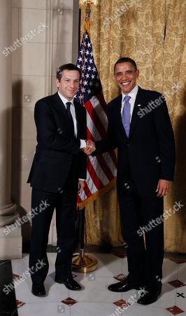 Barack Obama, Gordon Bajnai President Barack Obama greets Hungarian Prime Minister Gordon Bajnai at the US Ambassador's residence in Prague