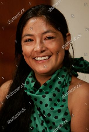 """Stock Picture of Magaly Solier Peruvian actress Magaly Solier, who is a cast member of """"La Teta Asustada"""" film, speaks during a news conference in Lima, . """"La Teta Asustada"""" or his name in english """"The milk of sorrow"""", a Peruvian film nominated for an Oscar for best foreign film, explains largely relegated issues in Peru, as the violations that affected thousands of women and the deep psychological scars that carry many Peruvians related to the struggle against subversion in the 80s and 90s"""