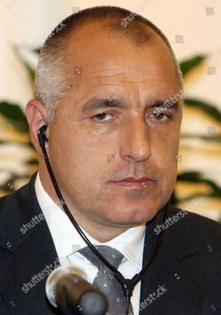 Stock Picture of Bulgarian Prime Minister Boyko Metodiev Borisov during a joint press conference with Qatar Prime Minister Sheikh Hamad bin Jassim bin Jaber al-Thani, unseen, in Doha, Qatar