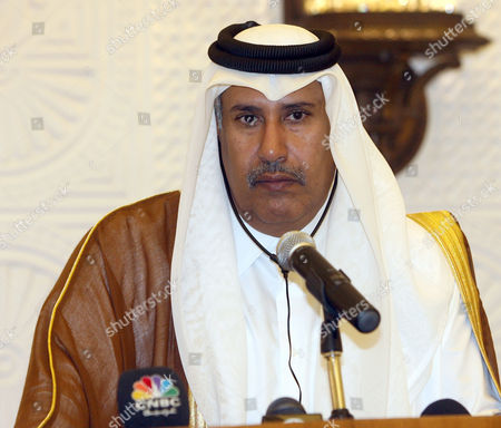 Stock Image of Qatar Prime Minister Sheikh Hamad bin Jassim bin Jaber al-Thani holds a joint press conference with Bulgarian Prime Minister Boyko Metodiev Borisov, unseen, in Doha, Qatar