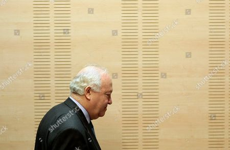 Miguel Angel Moratinos Spanish Foreign Minister Miguel Angel Moratinos arrives a news conference after a meeting with Swiss Foreign Minister Micheline Calmy-Rey and Foreign Minister of Libya Mousa Kousa at the Viana Palace in Madrid