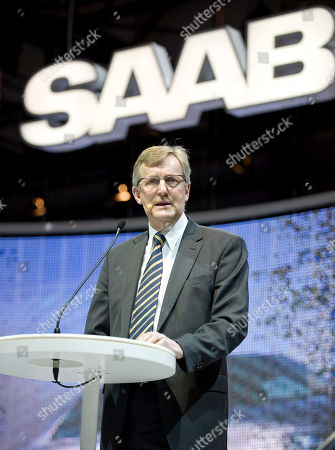 Stock Picture of Jan-Ake Jonsson Saab CEO Jan-Ake Jonsson declares the rescue of Swedish carmaker Saab at the Geneva Motor Show in Geneva, Switzerland, . About 250 exhibitors from 30 countries, showing 100 car premieres at the Auto Show until March 14