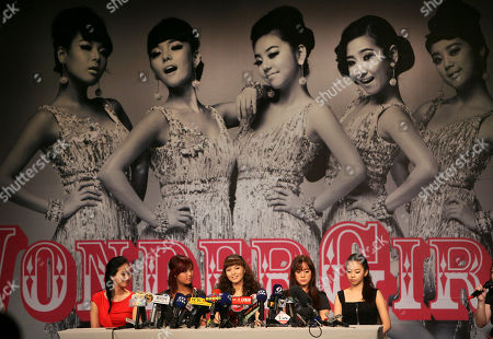 South Korean music group The Wonder Girls, from left, Park Ye-eun, Kim Yu-bin, Min Sun-ye, Yu Heylim and Ahn So-hee, speak to media during a press conference to promote their new album in Taipei, . Earlier in April 2010 the group announced a 20-show tour of the U.S. and Canada