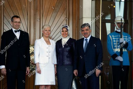 Toomas Hendrik Ilves, Abdullah Gul, Evelin Ilves, Hayrunnisa Gul Estonia's President Toomas Hendrik Ilves, left, his wife Evelin Ilves, second left, his Turkish counterpart Abdullah Gul, right, and his wife Hayrunnisa Gul pose for cameras during a ceremony at the Cankaya Palace in Ankara, Turkey, . Ilves is in Turkey for a three-day state visit