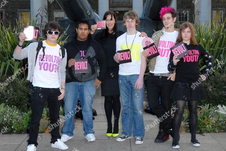 Fashion designer Katharine Hamnett  joins young band Revolt for launch of their new anti-war single Call It What You Want. Revolt won Youth Music's Build A Band Award at this year's Glastonbury Festival