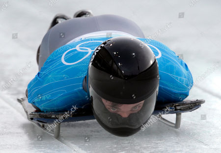 Michi Halilovic of Germany starts during a training run for the men's skeleton at the Vancouver 2010 Olympics in Whistler, British Columbia