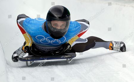 Michi Halilovic of Germany brakes at the finish during a training run for the men's skeleton at the Vancouver 2010 Olympics in Whistler, British Columbia