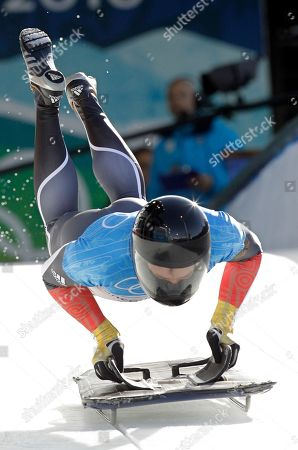 Michi Halilovic of Germany starts during men's skeleton training at the Vancouver 2010 Olympics in Whistler, British Columbia