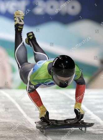 Michi Halilovic of Germany competes during the men's skeleton competition at the Vancouver 2010 Olympics in Whistler, British Columbia