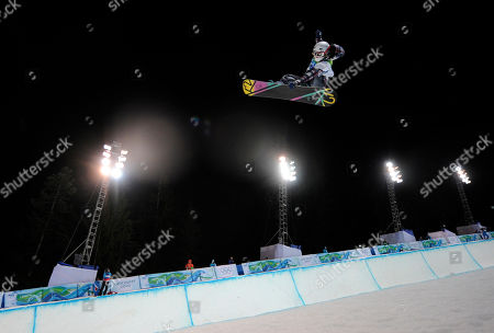 Gretchen Bleiler of the USA competes during the finals in the women's snowboard halfpipe at the Vancouver 2010 Olympics in Vancouver, British Columbia