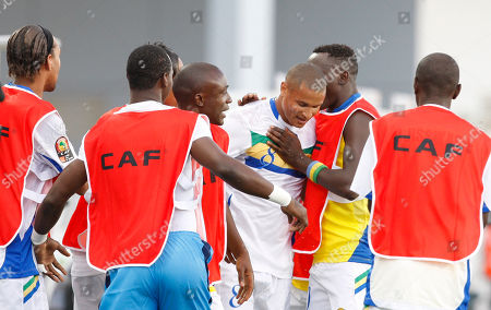 Daniel Cousin Gabon's Daniel Cousin, center, reacts with fellow team members after scoring against Cameroon during their African Cup of Nations Group D soccer match at Tundavala stadium in Lubango, Angola
