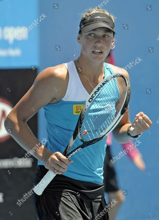 Belgium's Yanina Wickmayer reacts after beating Britain's Naomi Cavaday in a Women's singles 2nd round qualifying match in Melbourne, Australia